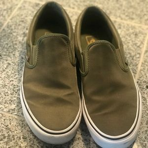 Olive Green Vans with Water Resistant Material 🌲
